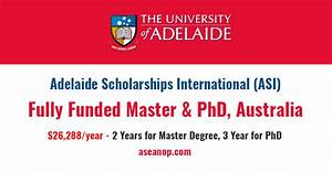 Adelaide International Scholarship for Master and PhD ...