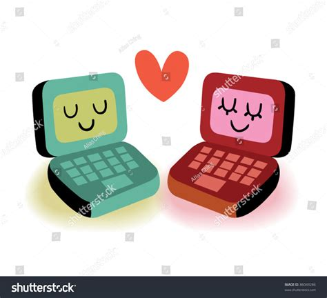 laptop computers  love stock vector illustration