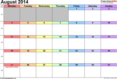 calendar august  uk  excel word   templates