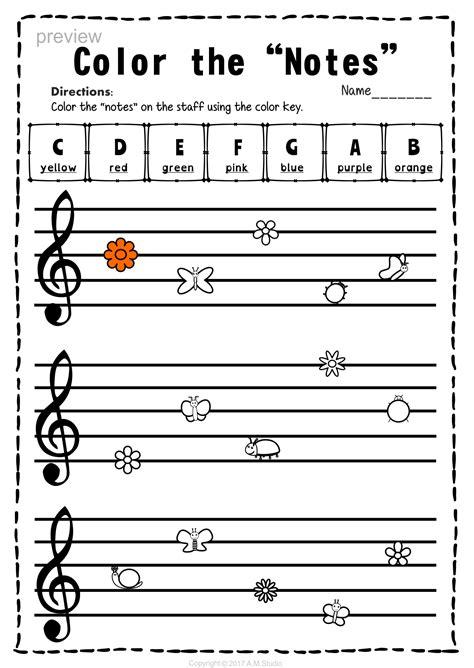 treble clef note naming worksheets  spring  images