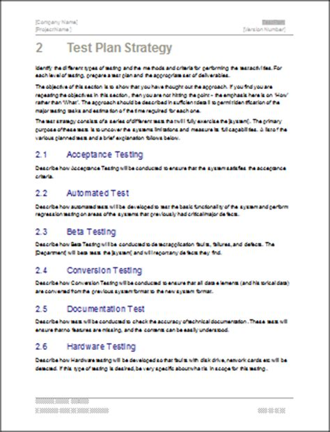 test strategy template test plan ms word excel template