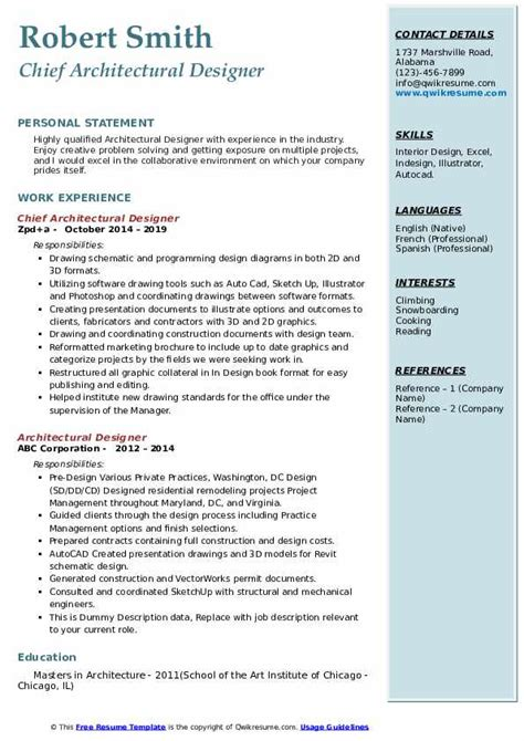 architectural designer resume samples qwikresume
