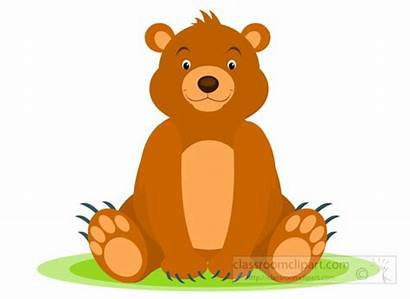 Bear Clipart Clip Sitting Grizzly Cub Animals