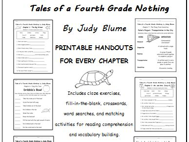 tales of a fourth grade nothing worksheets tales of a fourth grade nothing by judy blume printable handouts for each chapter by tspeelman
