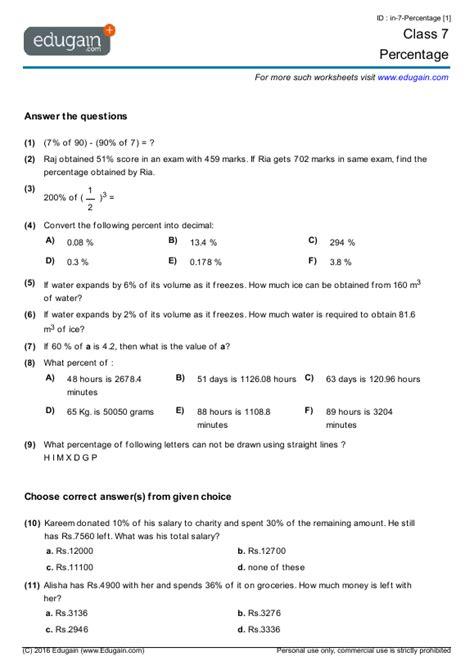 Grade 7 Math Worksheets And Problems Percentage  Edugain Usa