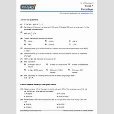 Grade 7 Math Worksheets And Problems Percentage  Edugain Usa