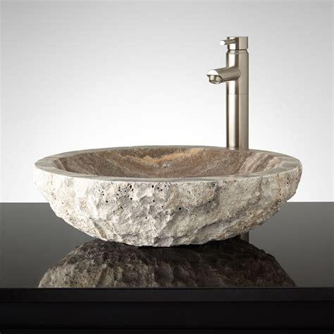 Bathroom Sink Vessel by Oval Chiseled Travertine Vessel Sink Bathroom Sinks