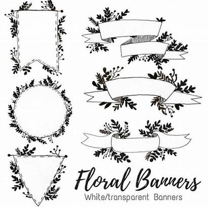 Banner Doodle Floral Drawn Clip Riboon Commercial