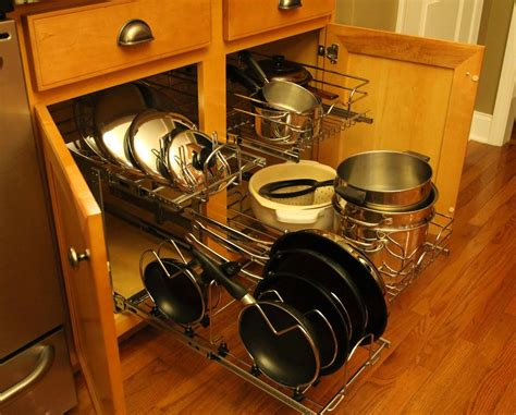 pots pans kitchen organization cabinet pull shelf lids rev organizer storage pot cookware ferrellgraph neatly tier idea side different colanders