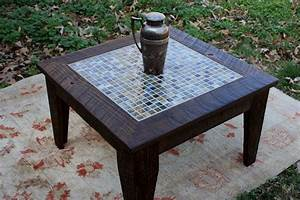 Small coffee table tile mosaic reclaimed wood rustic for Rustic coastal coffee table