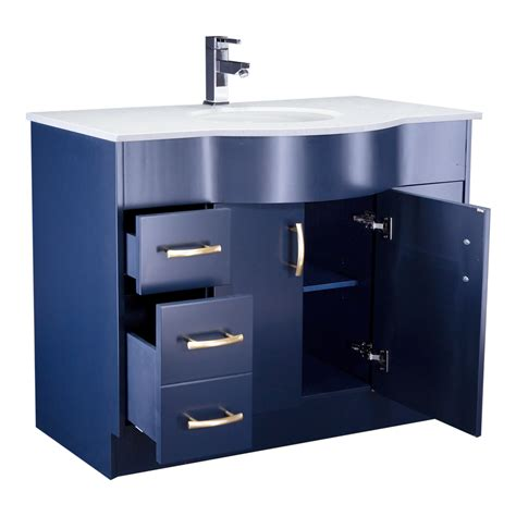 single sink bathroom vanity  blue finish  stone