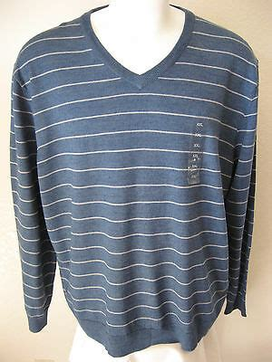mens wool sweater xxl club room light blue stripe acrylic