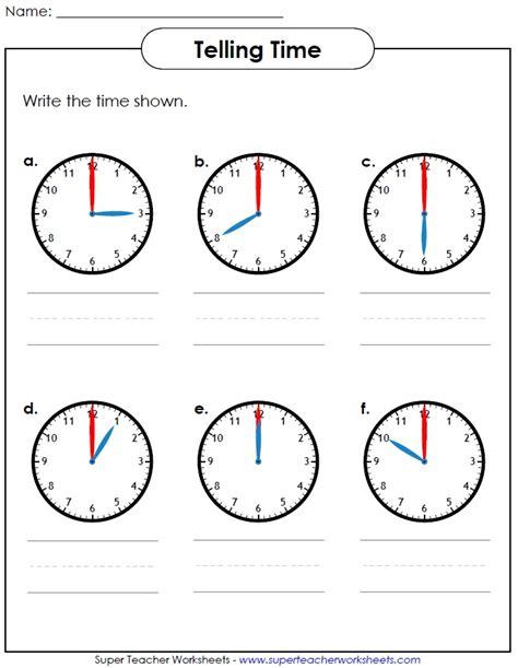 Printable Worksheet For Telling Time