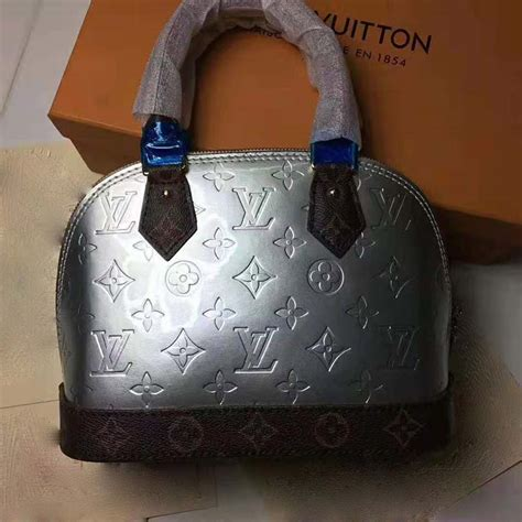 louis vuitton lv women alma bb handbag  metallic monogram vernis patent leather silver lulux