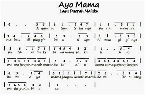 not lagu cinta untuk mama not angka pianika lagu ayo mama