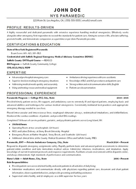 emt paramedic resume examples job resume examples