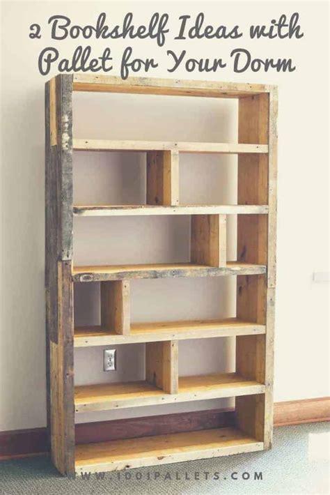 bookshelf ideas  pallet   dorm  pallets