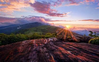 Sunset Landscape Mountain Wallpapers Mountains Nature Wide