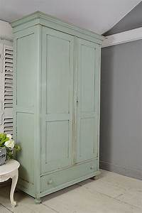 Large, Rustic, Shabby, Chic, Dutch, Wardrobe, With, Drawer, Blue