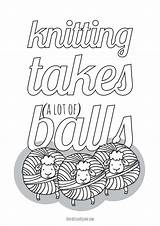 Knitting Coloring Balls Yarn Takes Adults Printables Square Such Printable Lots sketch template
