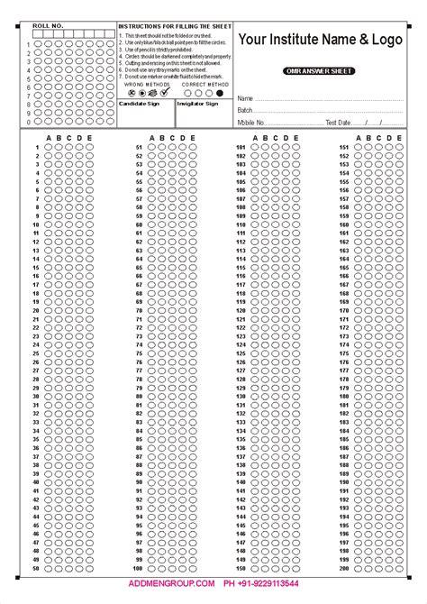 200 Question Omr Sheet Sample, Omr Sheet Sample Download