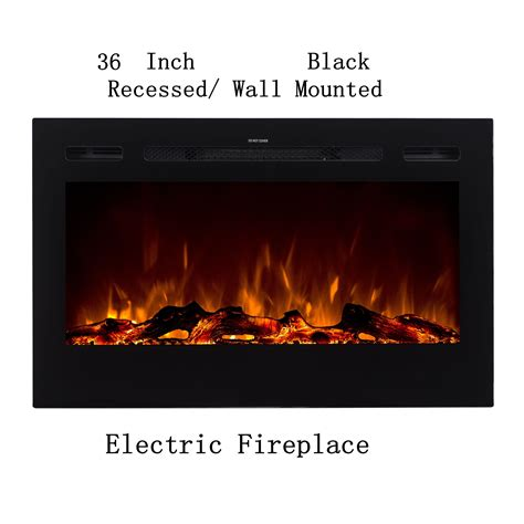 black built  recessed wall mounted heater electric