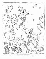 Coloring Ocean Seaweed Cartoon Printable Seahorse Animals Camouflage Sheets Sea Unterwasser Meeresgrund Dragon Ausmalbilder Template Wonderweirded Creatures Animal Seahorses Seadragon sketch template