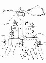 Coloring Hill Castle Medieval Designlooter 825px 53kb sketch template