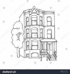 Threestoreyed House Victorian Style Outline Vector Stock ...