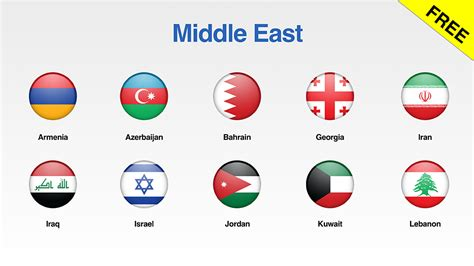 free of middle east flags icons for your presentations
