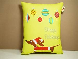 Dachshund Doxie Pillow - Doxie Retro Holiday Ornament