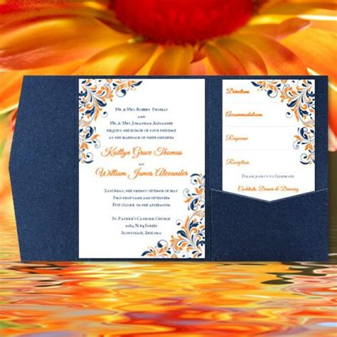 diy pocketfold wedding invitations quot kaitlyn quot orange navy