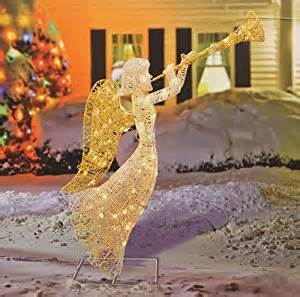 amazon com 48 quot glittered trumpeting angel lighted christmas yard art decoration outdoor