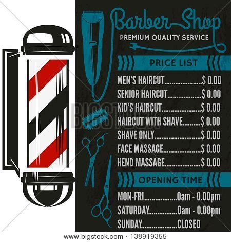 barber shop vector price list template haircut and shave