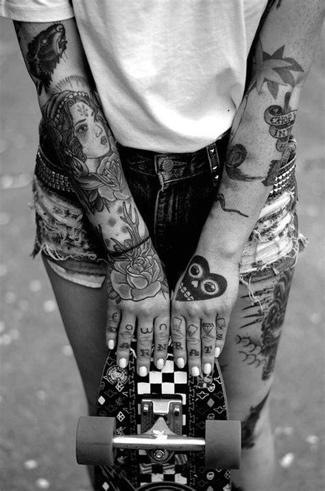 Black and white photo of tattooed girl, sleeve tattoos #