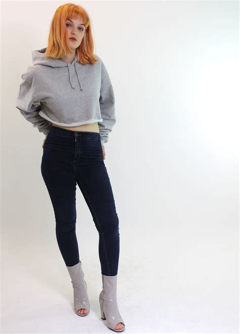 Black Cropped Hoodie Hoody Crop Top Womens Fashion Oversized | eBay