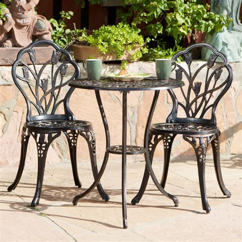 new cast aluminum outdoor bistro set traditional