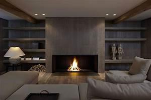 Cheminée à Foyer Ouvert : chemin e bois contemporaine design original ~ Premium-room.com Idées de Décoration