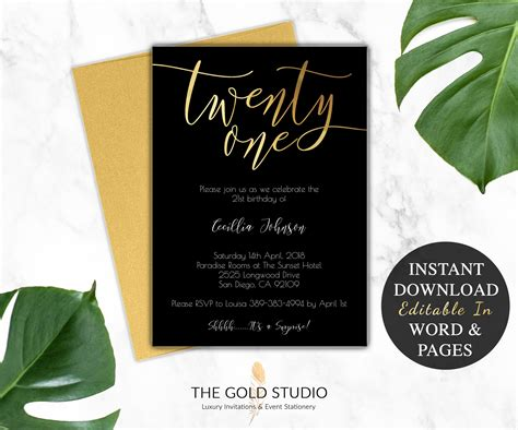21st Birthday Invitation Instant Download Modern Black