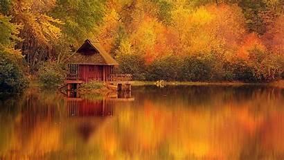 Cabin Autumn Log Fall Lake Desktop Cabins