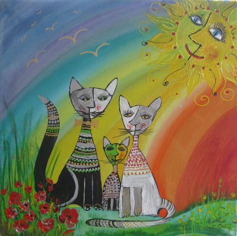katzenfamilie unterm regenbogen acryl auf leinwand