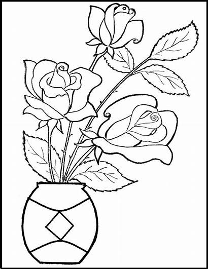 Flowers Glass Valentine Coloring Pages Painting Flower