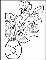 Rose Flower Coloring Outline Flowers Simple Painting Patterns Valentine Glass Roses Ausmalbilder Colori Craft Raal Colouring Printable Adults Sheets Valentines sketch template