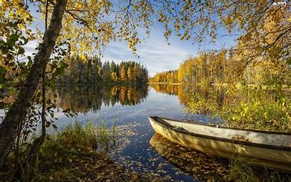 Viewes Birch Autumn Trees Forest Boat Lake