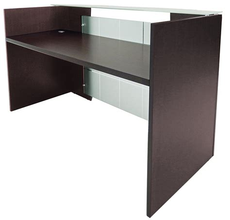 adjustable desk height glass front reception desk in 5 colors