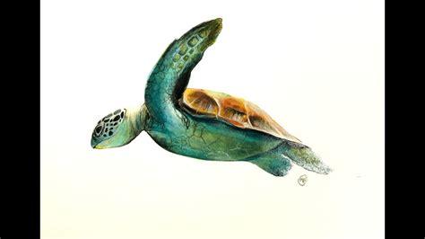 fluid acrylics painting  watercolors sea turtle demo