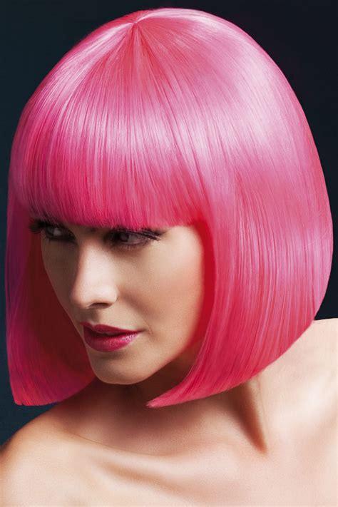 sleek bob elise wig  fringe  neon pink