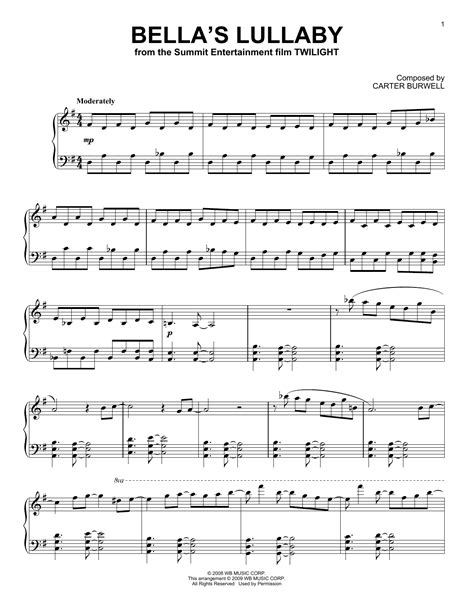 bella s lullaby sheet music by carter burwell piano 153354