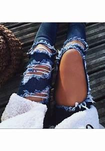 Jean Bleu Troué Femme : jeans destroy d chir avec poches boutons trou slim mode femme denim bleu jeans bas ~ Melissatoandfro.com Idées de Décoration