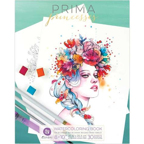 prima marketing watercolor coloring book princess vol
